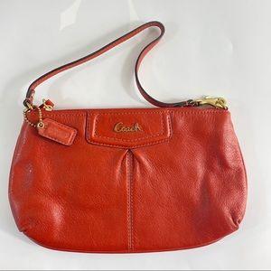 Coach Brick Orange Red Leather Pochette Bag